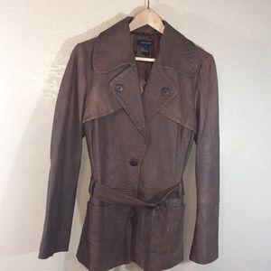 Women's Karen Kane Brown Leather Belted Jacket
